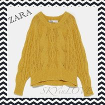 ZARA Crew Neck Cable Knit Casual Style Long Sleeves Cotton