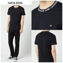Calvin Klein Crew Neck Plain Cotton Short Sleeves Crew Neck T-Shirts