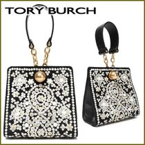 Tory Burch Blended Fabrics Chain Leather Party Style With Jewels