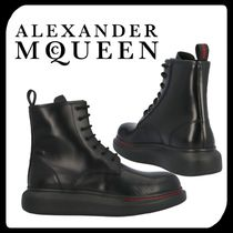 alexander mcqueen Plain Leather U Tips Engineer Boots