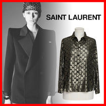 Saint Laurent Dots Silk Long Sleeves Medium Shirts & Blouses
