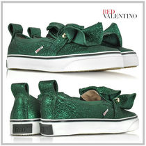 RED VALENTINO Round Toe Rubber Sole Casual Style Leather Party Style
