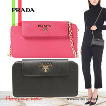 PRADA SAFFIANO LUX Saffiano Chain Plain Long Wallets
