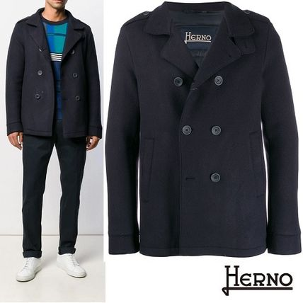cheap limpid in sight discount sale HERNO 2019-20AW Wool Plain Peacoats Coats (PC0102U33187)