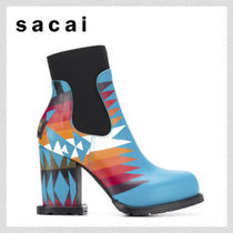 sacai Round Toe Casual Style Leather Block Heels Boots Boots