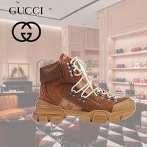 GUCCI Mountain Boots Rubber Sole Casual Style Suede