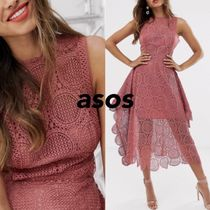 ASOS Sleeveless Flared Plain Medium Lace Elegant Style Dresses