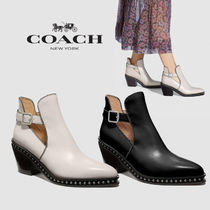 Coach Studded Plain Leather Block Heels Party Style