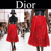 Christian Dior Flared Skirts Flower Patterns Long Handmade With Jewels