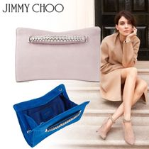 Jimmy Choo Suede 2WAY Chain Plain Party Style With Jewels Clutches
