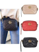 GUCCI GG Marmont Casual Style Plain Shoulder Bags