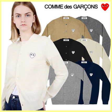 Heart Unisex Wool Street Style Long Sleeves Plain Cardigans