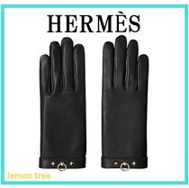 HERMES Studded Leather Leather & Faux Leather Gloves