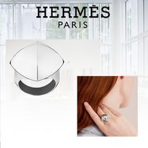 HERMES Collier de Chien Studded Silver Elegant Style Rings