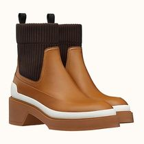HERMES Rubber Sole Leather Elegant Style Ankle & Booties Boots