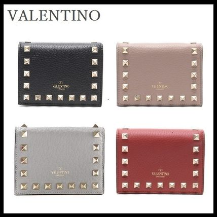 VALENTINO Folding Wallets Street Style Leather Folding Wallets