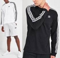 adidas Crew Neck Long Sleeves Cotton Logos on the Sleeves