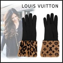Louis Vuitton 2019-20AW LEOGRAM FUR GLOVES black 7.5-8 gloves