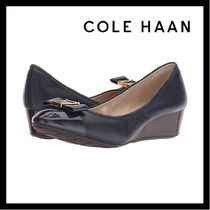 Cole Haan Blended Fabrics Plain Leather Wedge Pumps & Mules