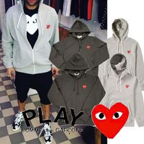 COMME des GARCONS Heart Unisex Sweat Street Style Long Sleeves Hoodies