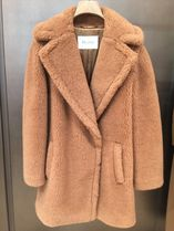 MaxMara Wool Blended Fabrics Plain Medium Elegant Style Coats