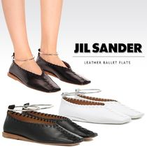 Jil Sander Square Toe Plain Leather Elegant Style Flats