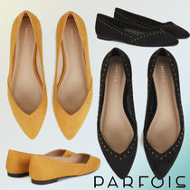 PARFOIS Faux Fur Studded Plain Ballet Shoes