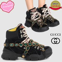 GUCCI Plain Toe Lace-up Casual Style Velvet Plain With Jewels
