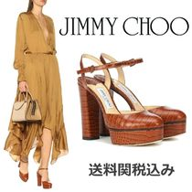 Jimmy Choo Platform Round Toe Blended Fabrics Other Animal Patterns
