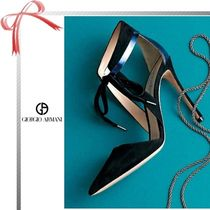 GIORGIO ARMANI Plain Pin Heels Elegant Style Pointed Toe Pumps & Mules