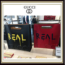 GUCCI Gucci Ghost Unisex Street Style A4 2WAY Plain Leather Totes