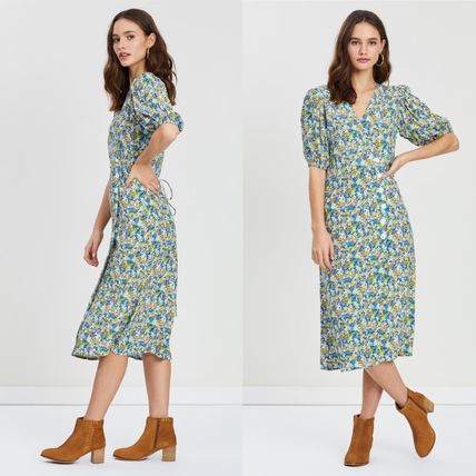 Flower Patterns V-Neck Dresses