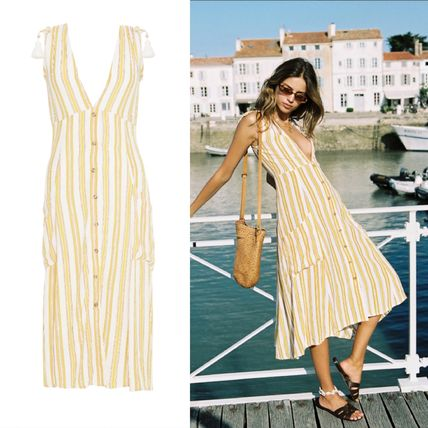 Stripes V-Neck Dresses
