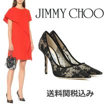 Jimmy Choo Flower Patterns Blended Fabrics Leather Pin Heels