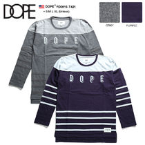 DOPE couture Crew Neck Unisex Street Style Bi-color Long Sleeves Cotton