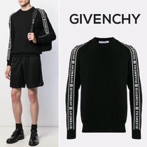 GIVENCHY Crew Neck Wool Long Sleeves Plain Logos on the Sleeves