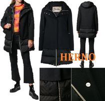 HERNO Wool Blended Fabrics Street Style Plain Long Down Jackets