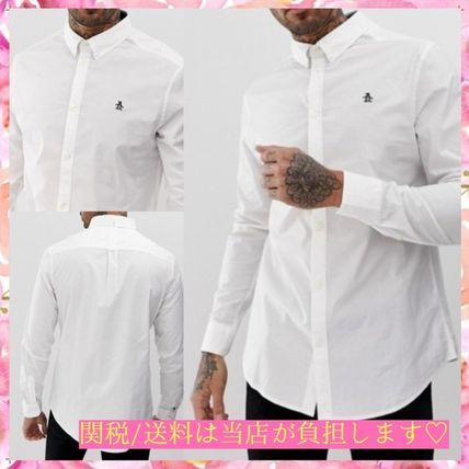 Button-down Street Style Long Sleeves Plain Cotton Logo