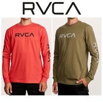 RVCA Crew Neck Street Style Long Sleeves Plain Cotton Khaki