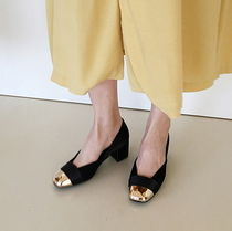 Square Toe Bi-color Plain Party Style Chunky Heels Shoes