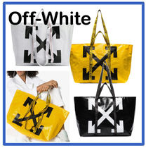 Off-White Casual Style Unisex Street Style A4 PVC Clothing Totes