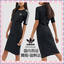 adidas Casual Style Tight U-Neck Medium Short Sleeves Dresses