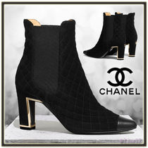 CHANEL Suede Plain Block Heels Elegant Style Ankle & Booties Boots