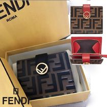 FENDI Unisex Calfskin Folding Wallets
