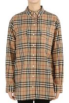 Burberry Tartan Casual Style Long Sleeves Cotton Medium Oversized