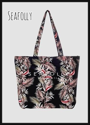 Tropical Patterns Casual Style Street Style A4 Logo Totes