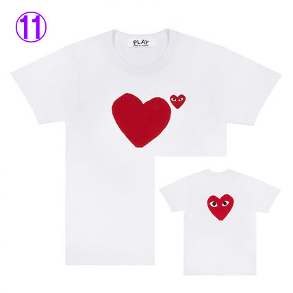 COMME des GARCONS Crew Neck Crew Neck Unisex Street Style Cotton Short Sleeves Logo 11