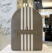 THOM BROWNE Stripes Unisex Street Style Leather Backpacks