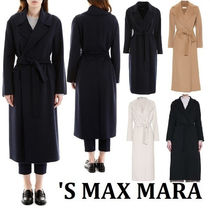 MaxMara Wool Plain Long Elegant Style Wrap Coats