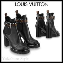 Louis Vuitton Monogram Casual Style Leather Block Heels